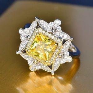 Sterling Silver 925 Citrine Princess Cut Ring
